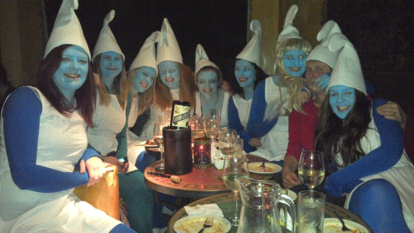 Ladies' 4s as smurfs
